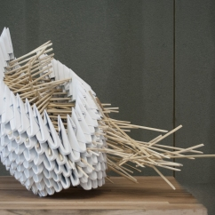 Organismi Geometrici, 60x45x50 cm, recycled paper and bamboo, Lisbon, 2017.