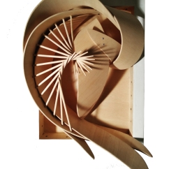 Nautilus, 45x80x20 cm, flexible wood and recycled wood, 2018.